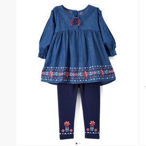 Blue Flower-Accent Tunic & Leggings